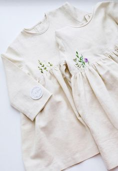 Handmade Embroidered Linen Baby Toddler Dresses | Vorgona on Etsy