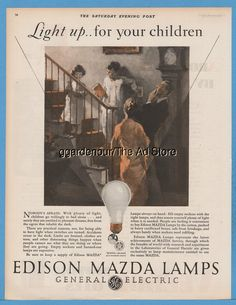 1928 Edison Mazda Lamps General Electric Lightbulb Light up for your children Ad