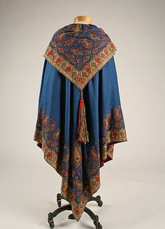 Evening cape Date: 1860s Culture: European Medium: silk, cashmere Dimensions: Length at CB: 48 in. (121.9 cm)