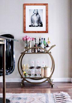 Genius Bar Cart Ideas for Every Room Bar cart ideas, bar cart ideas decor, bar cart ideas diy, bar cart ideas apartments Diy Bar Cart, Gold Bar Cart, Bar Cart Styling, Bar Cart Decor, Home Bar Decor, Retro Home Decor, Bar Chairs, Bar Stools, Room Chairs