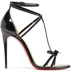 Christian Louboutin Blakissima 100 bow-embellished patent-leather... (2.445 BRL) ❤ liked on Polyvore featuring shoes, sandals, heels, sapato, zapatos, strap heel sandals, black patent sandals, strappy high heel sandals, high heel shoes and black sandals