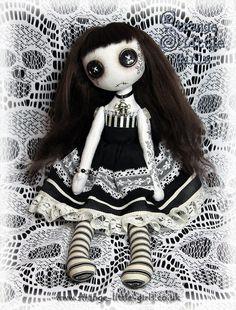 OOAK button-eyed Gothic cloth art doll  by StrangeLittleGirlsUK