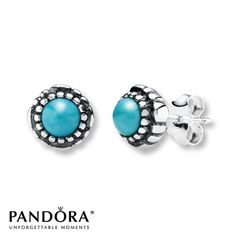 Pandora Earrings Turquoise Sterling Silver