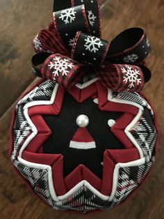 Santa Hat in Plaid Christmas ornament by WreathsByKari on Etsy