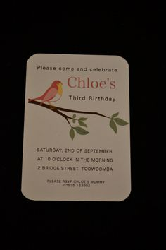 Little Bird invitation printed and posted to you by HouseInspired, $16.00