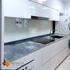 Metallic Epoxy Singapore White Highlights on Silver Base Kitchen Countertop - Metallic Epoxy Countertop Design Ideas - Epoxyfan Epoxy Countertop, Stone Countertops, Kitchen Countertops, White Highlights, Singapore, Sink, Metallic, Lava Flow, Design Ideas