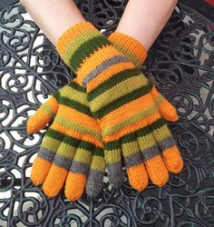 Hand Knitted Coraline Gloves Made To Order by GothicChameleon