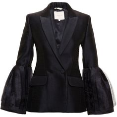 Roksanda Alden Silk-Blend Blazer (6965 QAR) ❤ liked on Polyvore featuring outerwear, jackets, blazers and roksanda