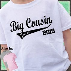 Big Cousin Shirt swoosh with name and Year by CustomTeesForTots