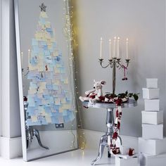 Love it! Don't have space for a Christmas tree.. This will do lovely! (can't afford a large mirror.. find mirrored closet doors for cheap on Craigslist!)