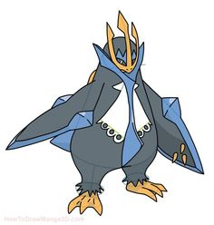 How to draw Empoleon Pokemon step by step