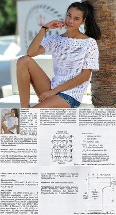 Golden Crochet: T-shirt blanc délicieux! # kleidunghäkeln Crochet doré: D . Débardeurs Au Crochet, Crochet Woman, Easy Crochet, Crochet Tops, Crochet Cardigan Pattern, Crochet Blouse, Knitting Patterns, Crochet Patterns, How To Start Knitting