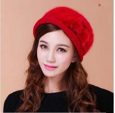 Bow design rabbit fur beret hat for women wear in winter