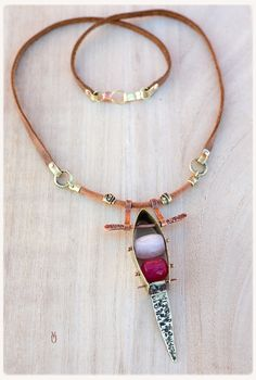talisman brass, copper and leather necklace:  unisex statement tribal rustic metalwork, texturized brass and gemstone. urban warrior