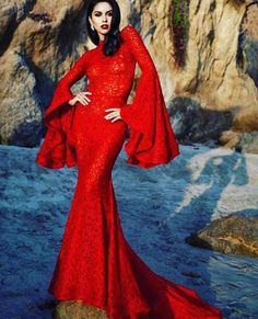 by Julia Kuzmenko [red dress] Style Couture, Couture Fashion, Red Fashion, Fashion Beauty, Fasion, Casual Dresses, Formal Dresses, Lace Dresses, Red Gowns