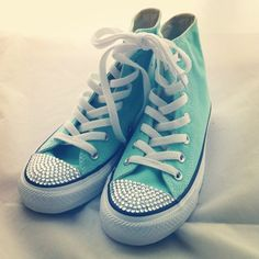 Aruba Blue Bling Converse high top by CUSTOMDUO