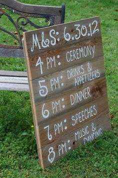I love this Reception Schedule Itinerary Menu Board. by TRUECONNECTION on Etsy.  It is made from recycled wood but it has an elegant tailored look to it.