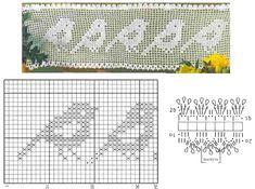 Lace Edging Crochet Patterns Part 9 - Beautiful Crochet Patterns and Knitting Patterns Filet Crochet Charts, Crochet Motifs, Crochet Cross, Crochet Diagram, Knitting Charts, Crochet Doilies, Crochet Stitches, Knitting Patterns, Crochet Patterns