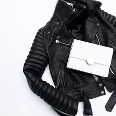 Black & White with & White Cow, Black And White, Wardrobe Staples, New Product, Shoulder Strap, Crossbody Bag, Leather Jacket, Flat Lay, My Style