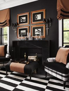 Gorgeous black and rust study by interior designer Megan Winters, via @sarahsarna.