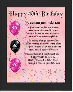 Personalised Mounted Poem Print - 40th Birthday- Pink   - Cousin  Poem