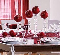 Ornaments on candlesticks for a centerpiece - such a fun idea!