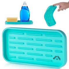 Nivafeel Kitchen Sink Organizer Tray – Silicone Holder for Sponge, Scrubber, Soap – Anti-Slip and Heat Resistant for Cleaning, Dishwashing Accessories - Turquoise Kitchen Sink Organization, Sink Organizer, Aqua Kitchen, Kitchen Cutlery, Kitchen Sponge Holder, Water Bottle Storage, Dishwasher Soap, Cleaning Supplies, Tray