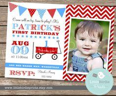 RED WAGON INVITATION  Blue  Printable by littlebirdieprints