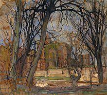 Piet Mondrian painting Spring Sun (Lentezon): Castle Ruin: Brederode in the Dallas Museum of Art