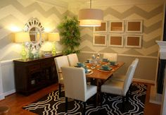 A Home Blog redesigned her dining room in chevron and mirrors! Love it!