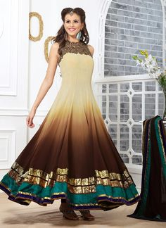 Whimsical Brown Georgette Ankle Length Anarkali