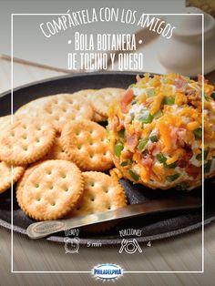¡Por fin es viernes! Comparte esta tarde con los amigos una deliciosa Bola botanera de tocino y queso.