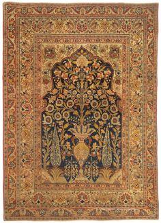 "TABRIZ ""VASE RUG"", Northern Persian 4ft 1in x 5ft 7in Circa 1900 http://www.claremontrug.com/antique-oriental-rugs-carpets/"