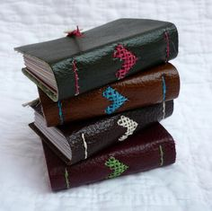 Valentines Tiny Shoe Leather Recycled hand bound notebooks designed by Kate Bowles #handmade_books #crafts