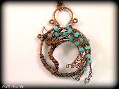 BlueTree of Life/Wire Wrap Tree of Life Pendant/Wire Tree/Glass crystal Tree of…