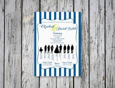 Striped Wedding Ceremony Program / DIY Printing by RejoiceGraphics