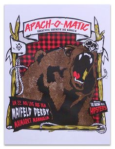 Screenprinted Gigposter for Surf Band Apach-O-Matic.  4-color screenprint on 200g Paper Edition of 30, signed and numbered