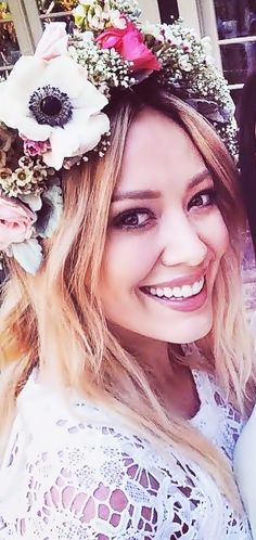 Flowers in her hair... For more style inspiration, watch Hilary Duff in season 1 of Younger on TV Land at http://www.hulu.com/younger.