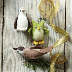 Felt bird ornaments #westelm