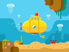 Buy Submarine Underwater Flat Illustration by on GraphicRiver. Submarine under water concept vector flat illustration Vector files, fully editable. Maps Design, Design Ios, Flat Design, Graphic Design, Illustration Plate, Illustration Vector, Vector Art, Map Illustrations, Motion Design