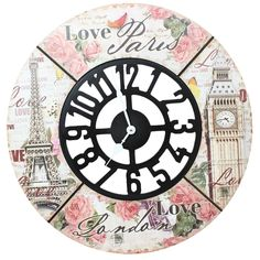 This listing is for one Vintage Style Shabby Chic Super Large MDF Wall Clock With Paris and London Scene. Price £36.99