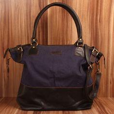 XXL Shopper Leconi dunkelblau navy Canvas Leder von LECONI Leather Bags auf DaWanda.com