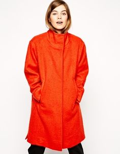 ASOS Coat With Funnel Neck & Split Hem - How gorgeous is this funnel-neck coat? I love the colour and the fluffy material. http://asos.do/UduBD7