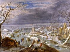 Winter landscape with ice-skaters on a frozen pond by a village
