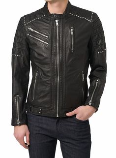 New Arrival Men Real Lambskin Motorcycle Premium Quality Leather Biker Jacket 01 #WesternOutfit #Motorcycle