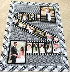 33 Amazing Photo Quilt Patterns & Ideas Wedding Photo Quilt<br> Browse the amazing collection of DIY Photo Quilt Patterns, Designs, Ideas and learn how to make handmade quilts with photos in some steps! Strip Quilts, Panel Quilts, Quilt Blocks, Strip Quilt Patterns, Applique Quilt Patterns, Foto Quilts, Quilting Projects, Quilting Designs, Quilting Ideas