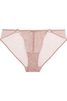 Elle Macpherson Body - Blaze Leavers Lace And Mesh Briefs - Beige - x large