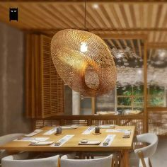 Online Shop Bamboo Wicker Rattan Wave Shade Pendant Light Fixture Rustic Vintage Japanese Lamp Suspension Home Indoor Dining Table Room Wicker Pendant Light, Pendant Light Fixtures, Pendant Lamp, Outdoor Floor Lamps, Outdoor Flooring, Style Du Japon, Japanese Lamps, Design Rustique, House Lamp