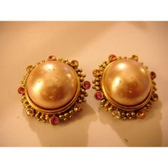 """New Listing Started Joan Rivers large goldtone clip on Earrings with faux pearl centre 1.25""""across £1.25"""