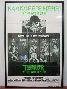 "70s Vintage Movie Poster One Sheet - Terror in The Wax Museum - Framed - Boris Karloff | $199  Rare, original 1973 Horror Mystery Vintage Movie Poster, Custom Framed: 28""x42"", Museum Quality UV Plexi #movieposter #vintage #poster #horror #film #movies #karloff"